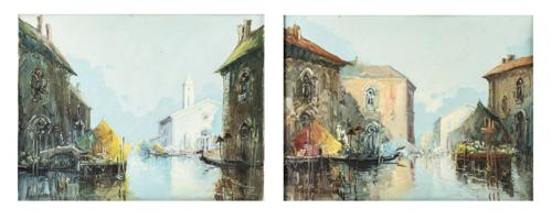 Pittore del XIX Secolo | Coppia di Vedute di Venezia |