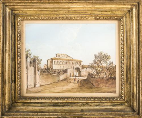 Pittore del XIX secolo | Veduta di chiesa in San Saba |