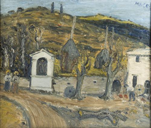 Maceo Casadei (Forli 1899, Forli 1992) | Paesaggio con covoni olio su tela cm.64x74 firmato in alto a destra rotture e restauri |