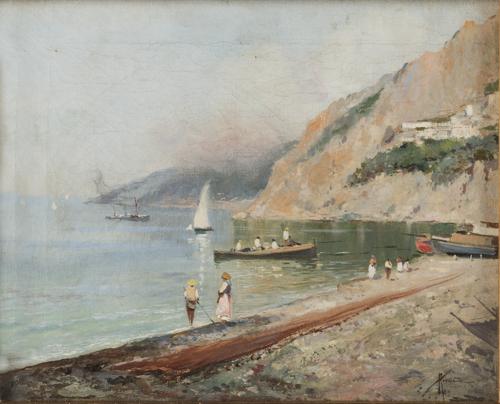 Oscar Ricciardi (Napoli 1864, Napoli 1935) | Veduta della Costiera Amalfitana |