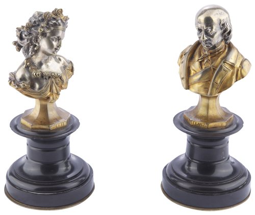 Scultore Francese del XIX Secolo | Coppia di mezzi busti | Gilded and silved-plated Pair of Busts
