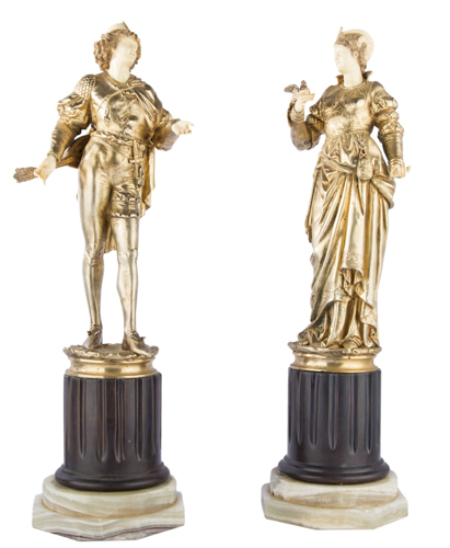 Albert Ernest Carrier de Belleuse (1824-1887) | Coppia di sculture in bronzo e avorio | A Pair of two bronze and ivory sculptures