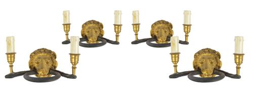 | Quattro appliques a due luci in stile impero |  Four Empire-style Appliques