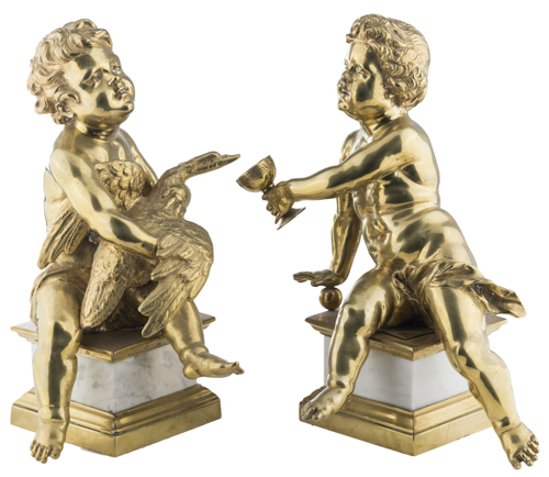 Francois Duquesnoy (Bruxelles 1597, Livorno 1643), Seguace di | Coppia di putti in bronzo Roma XIX secolo | A Pair of Sculpures with Putti