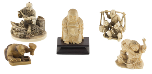 | Lotto di cinque sculture in avorio | Five ivory Okimono carvings