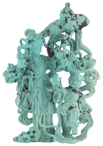| Scultura in turchese raffigurante Guanyin XX secolo | Turquoise sculpture of Guan Yin