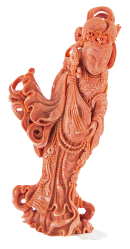 | Guanyn in corallo, Cina XIX secolo | Red coral sculpture of Guan Yin