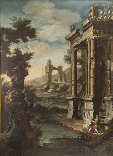Scuola Italiana del XVIII secolo | Capriccio Architettonico con figure | Ancient architecture Capriccio
