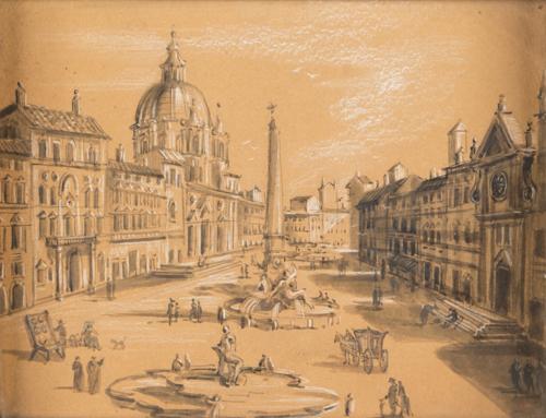 Scuola Romana del XVIII secolo | Veduta di Piazza Navona | View of Piazza Navona
