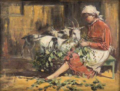 Giovanni Panza (Miseno 1894, Napoli 1989) | Giovane contadina con caprette | Young peasant with goats