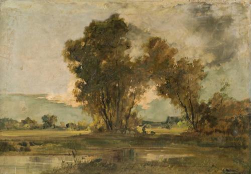 Giuseppe Gheduzzi (Crespellano 1889, Torino 1957) | Paesaggio con figure e armenti | Italian Landscape with figures