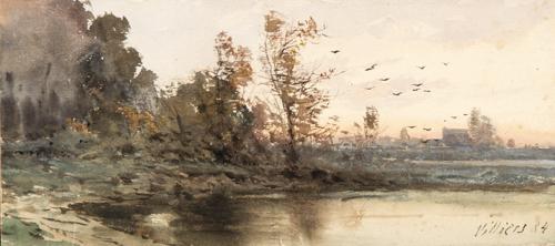 Scuola Francese del XIX secolo | Paesaggio lacustre | Lake Landscape
