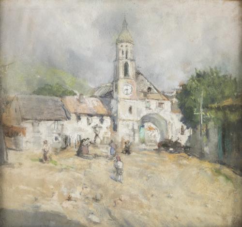 pittore del xix secolo figure nei pressi di una chiesa