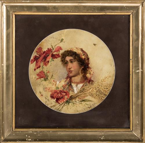 Pietro Gaudenzi (Genova 1880, Anticoli Corrado 1955) | Ritratto di fanciulla |