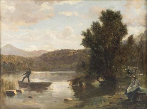 Antonio Fontanesi (Reggio Emilia 1818, Torino 1882) | Paesaggio con figure | Landscape with Figures