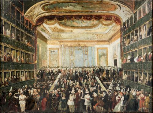Scuola veneta del XIX secolo | Festa di Carnevale al teatro San Benedetto di Venezia |