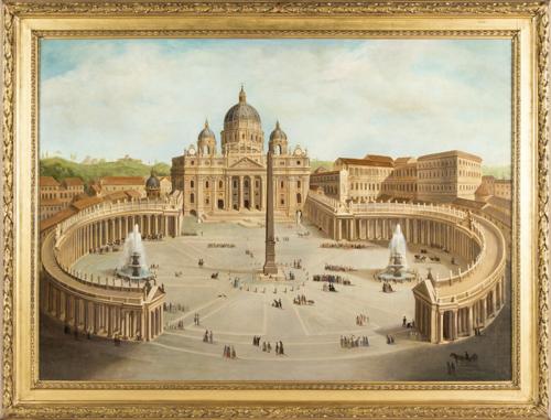 Scuola Romana inizi XIX secolo | Veduta di Piazza San Pietro | View of St. Peter's Square