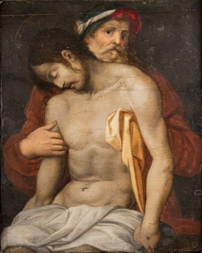 Giovanni Antonio Lappoli (Arezzo 1492, Arezzo 1552) | Cristo Morto sorretto da S.Giuseppe d'Arimatea | Christ and St. Joseph of Arimathea