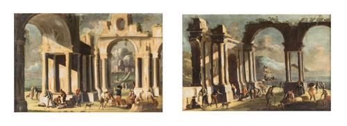 Leonardo Coccorante (Napoli 1680, Napoli 1750) Cerchia di | Coppia di Capricci | Two Capricci