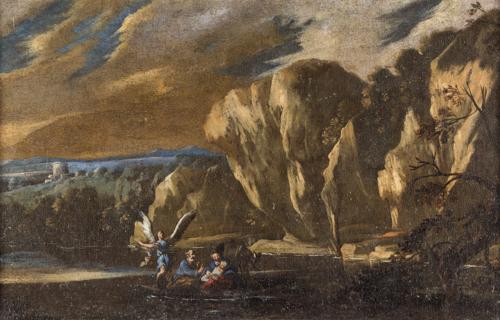Scuola Napoletana del XVII secolo | Riposo dalla Fuga in Egitto | Rest after the escape from Egypt