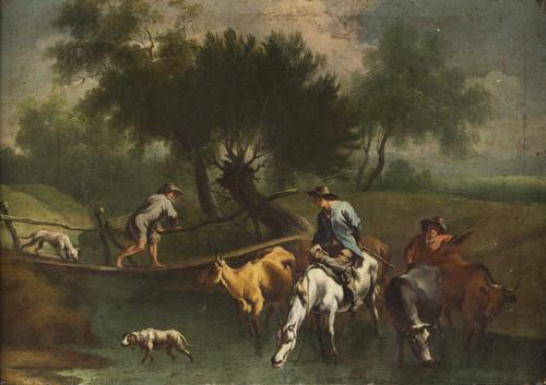 Vittorio Amedeo Cignaroli, Attribuito a | Paesaggio con guado e animali |