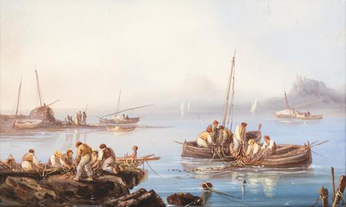 Pittore del XIX secolo | Veduta di Napoli con pescatori | View of Naples