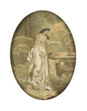 Pittore del XIX secolo   Bel ricamo con fanciulla in giardino   Girl embroidering in the garden