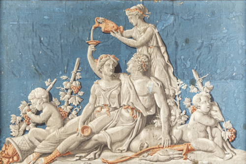 Scuola Neoclassica del XVIII secolo | Baccanale | Grisaille with Bacchanal motifs on a blue ground