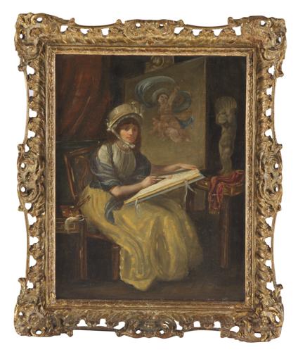 Pittore del XIX secolo | Angelica Kauffmann nello studio cm36x29 | Angelica Kauffmann in her study