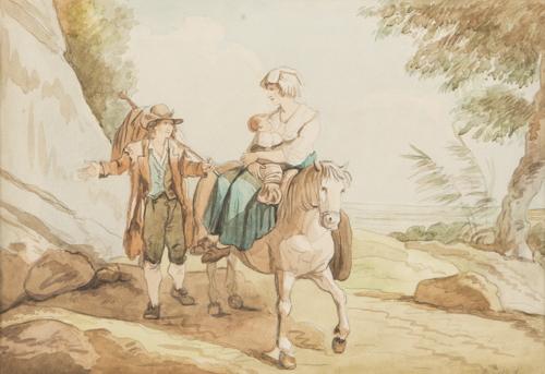 Bartolomeo Pinelli (Roma 1781, Roma 1835) | Paesaggio con contadini | Landscape with Peasants