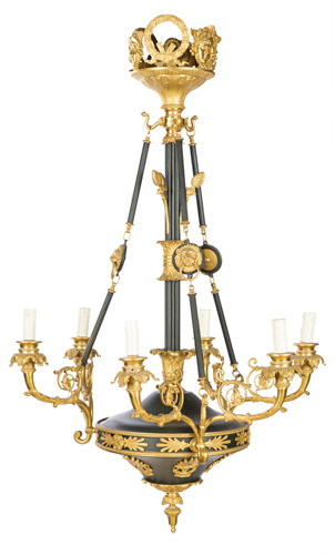 | Lampadario in stile impero a sei luci | Empire style Chandelier with six light