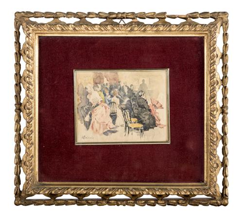 Pompeo Mariani (Monza 1857, Bordighera 1927) | Figure nel bar | Gentlemen and Ladies at the Bar