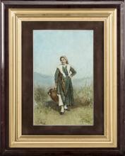 Gaetano Mormile (Napoli 1839, Napoli 1890)   Contadina   Peasant Girl