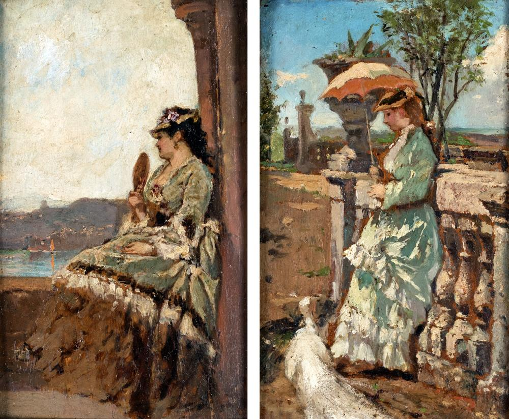 SCUOLA EUROPEA DEL XIX SECOLO A) FEMALE FIGURE WITH UMBRELLA B) WOMAN WITH FAN