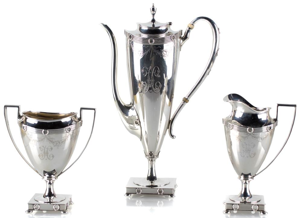 STERLING SILVER COFFEE SERVICE, NEW YORK 1871 - 1876, SILVERSMITH GORHAM FOR THEODORE B. STARR