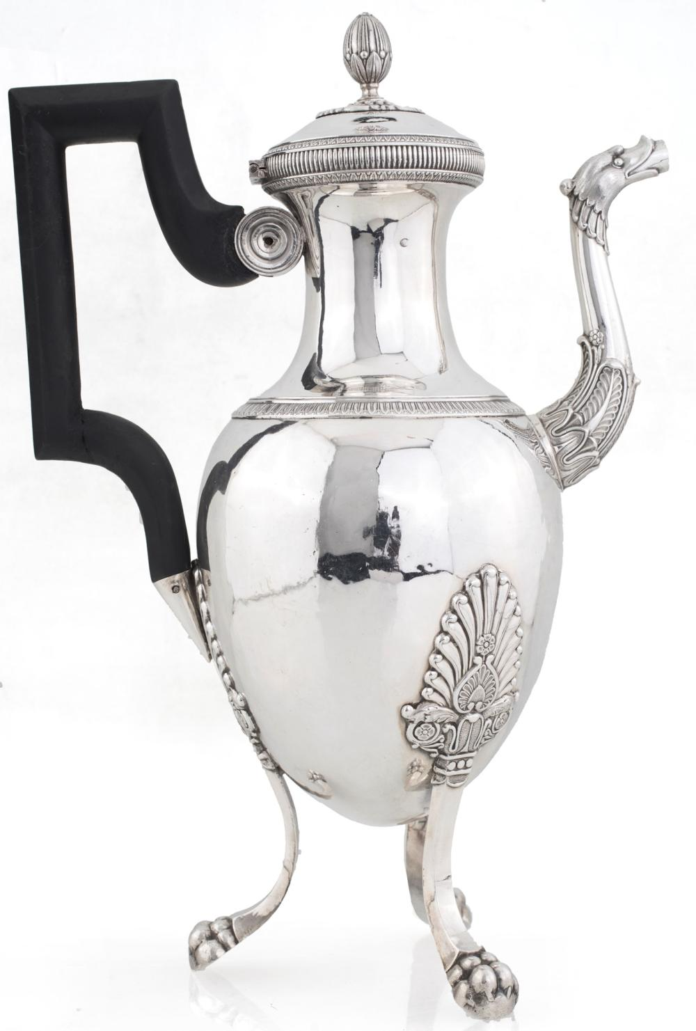 COFFEE POT IN 950/1000 SILVER, FRANCE 1820, SILVERSMITH F.P.