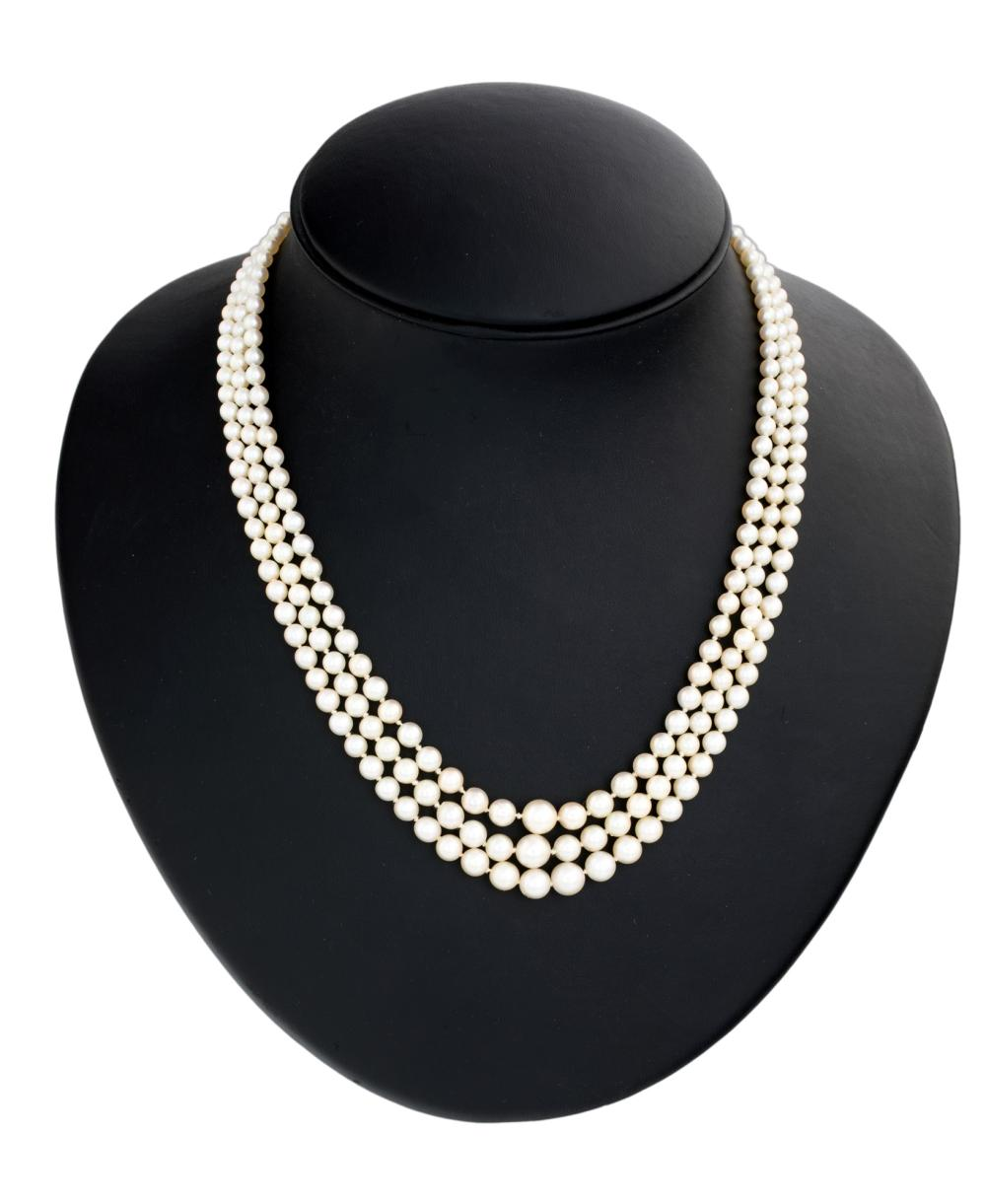 Lot 230: THREE WIRES OF CULTURED PEARLS