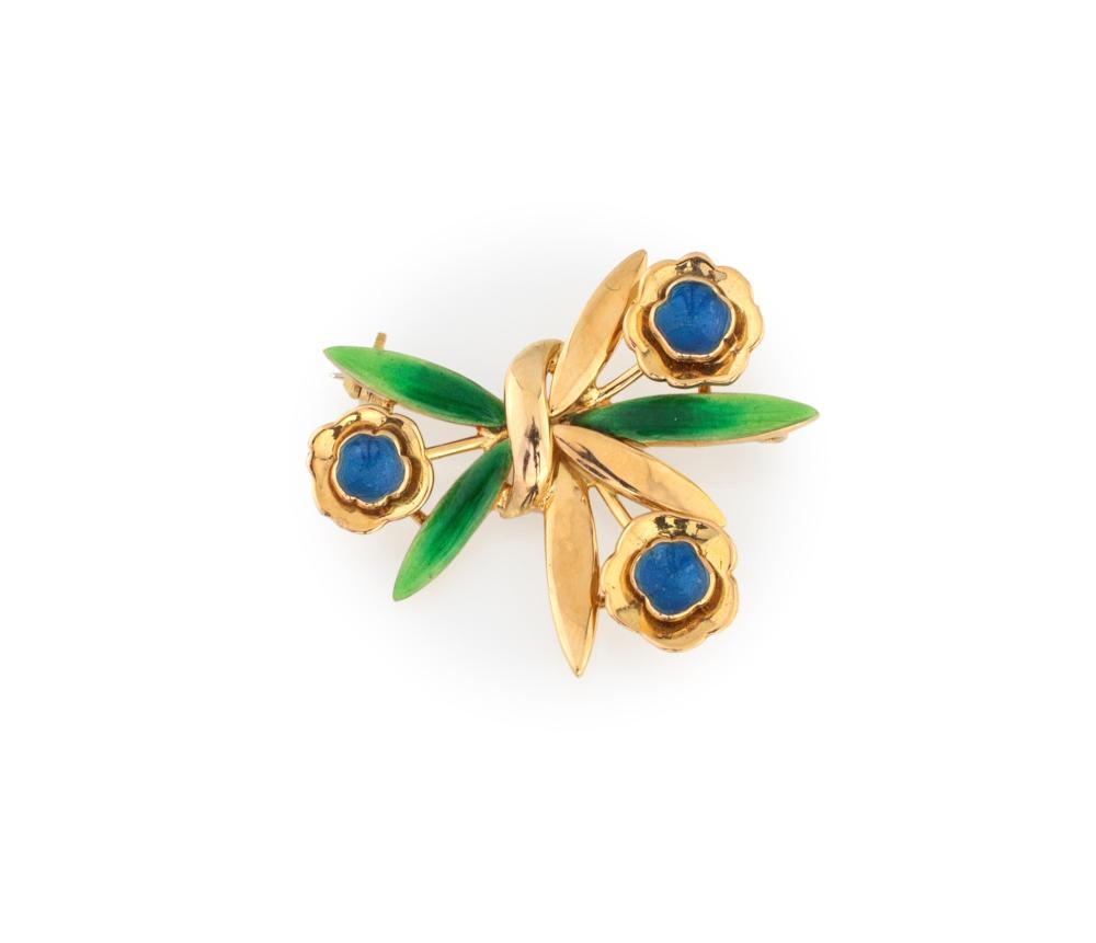 REPOSSI BROOCH WITH 3 FLOWERS