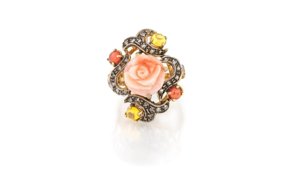 Lot 333: CORAL ROSE RING