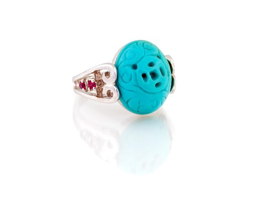 Lot 395: TURQUOISE RING