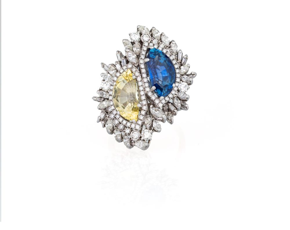 YELLOW AND BLUE SAPPHIRE RING
