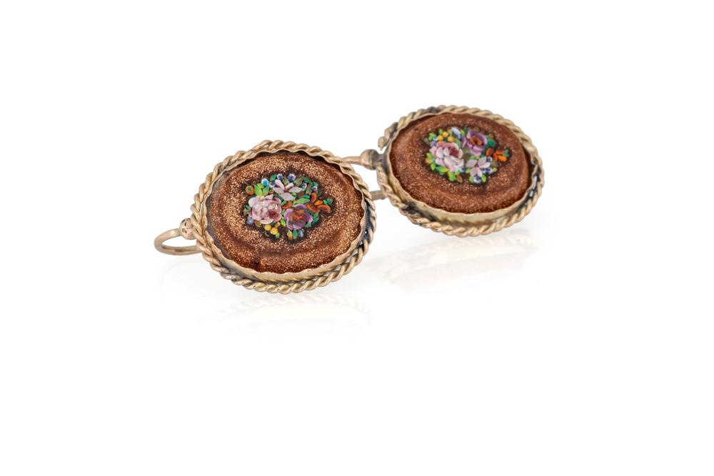 ANCIENT EARRINGS WITH MICROMOSAIC