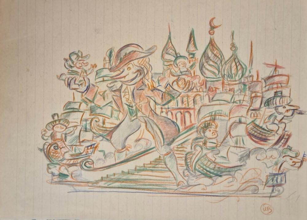Bonetti Uberto - Studio per un carro allegorico del Carnevale di Viareggio, '50