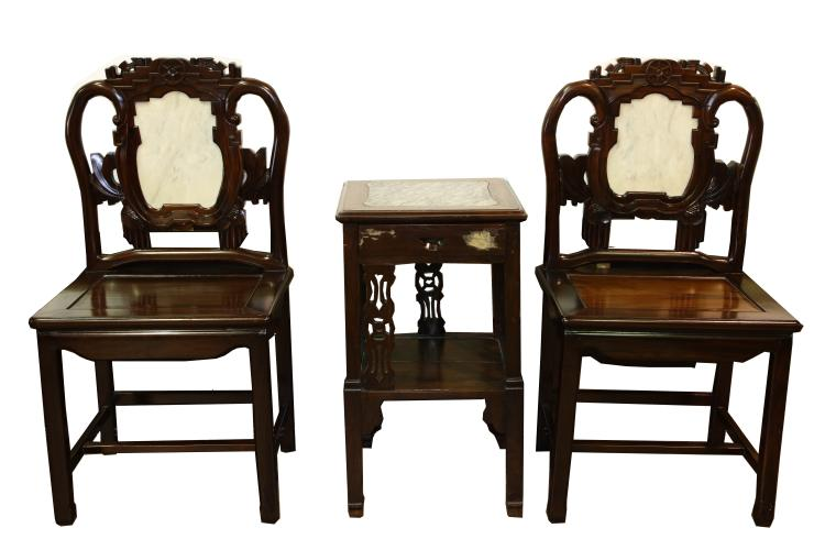 Set of three chinese qing styled suanzhi wood carved chair a for Asian furniture emeryville ca