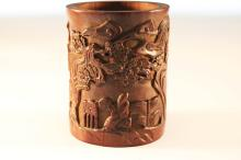 Chinese Qing Styled Bamboo Brushpot Carved with Figures and Pine Tree(aged cracks) W:13cm H:18.5cm