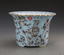 Chinese Famille Rose Flowerpot Painted with Flowers and Birds marked