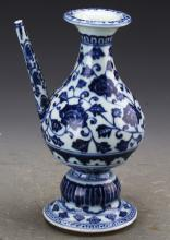 Chinese Blue and White Winepot Painted with Twine Flowers Marked