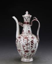 Chinese Yuan Styled Iron Red Glazed Winepot Painted with Flowers W:13cm H:27cm