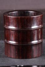 Chinese Qing Styled Zitan Wood Carved Brushpot W:12cm H:13cm