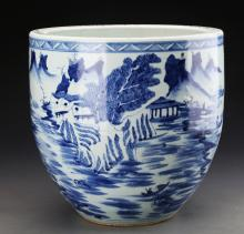 Chinese Qing Styled Blue and White Tank Painted With Landscape W:24cm H:25cm